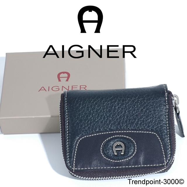 AIGNER-Damen-Geldboerse-Elchleder-Muenzfach-Schwarz-NEU