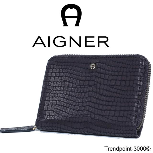 AIGNER-Geldboerse-Muenzfach-Kalbsleder-gepraegt-Schwarz-NEU