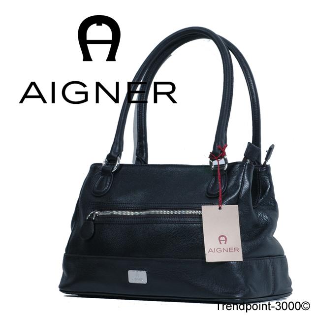 AIGNER-Tasche-Zip-Up-City-Tasche-M-Shopper-Leder-schwarz
